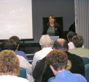 Author Mary Shafer narrates a digital slide presentation about the flood of 1955