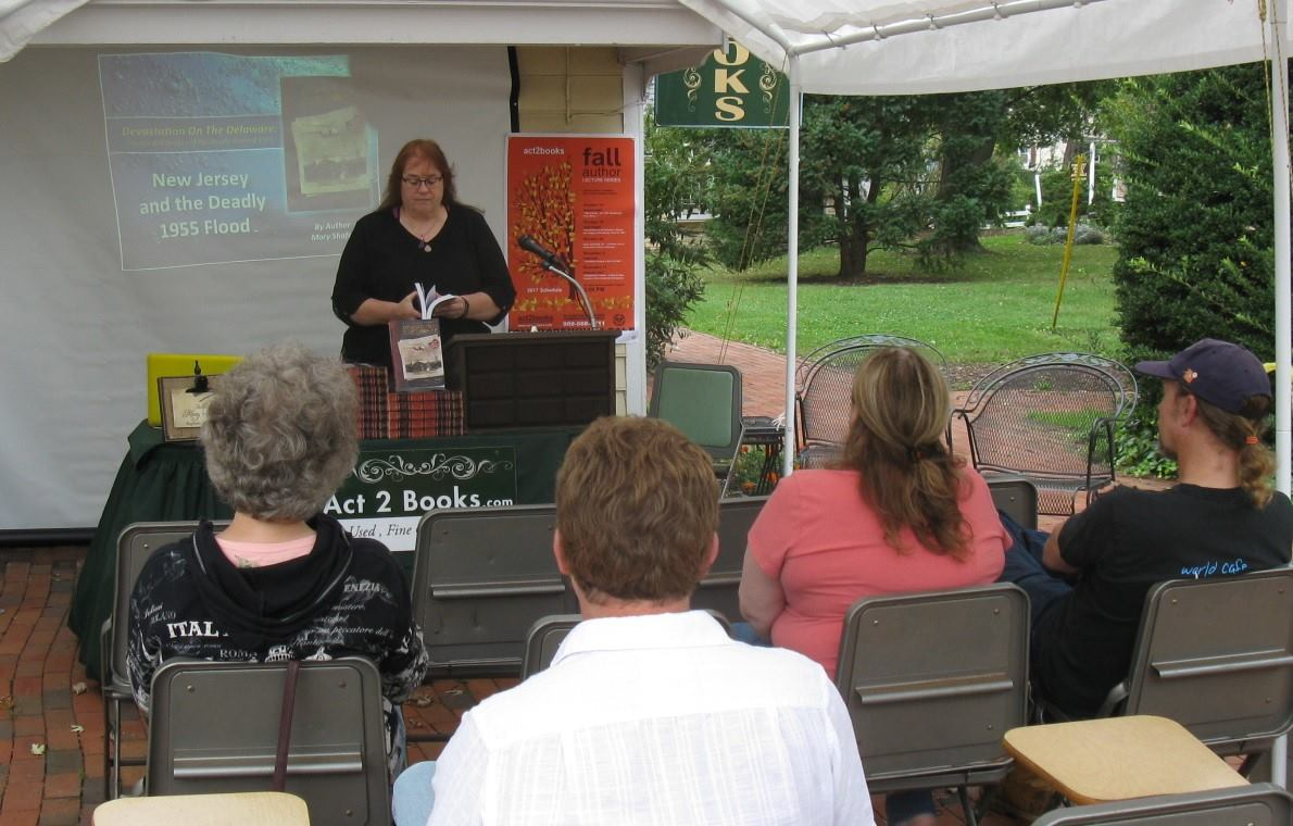 Author Mary A. Shafer giving a narrated slide presentation to audience at Act II Books in Flemington, NJ